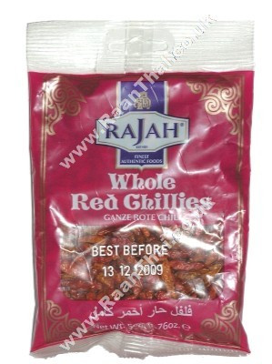 Dried Whole Red Chillies 50g - RAJAH