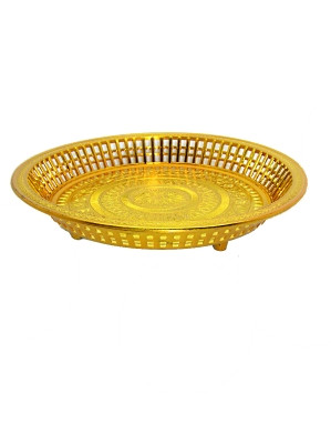 Ceremonial Plastic Round Tray - Gold - 23cm diameter