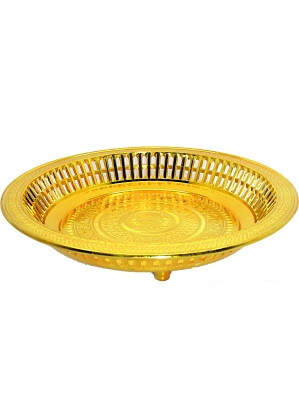 Ceremonial Plastic Round Tray - Gold - 26.5cm diameter