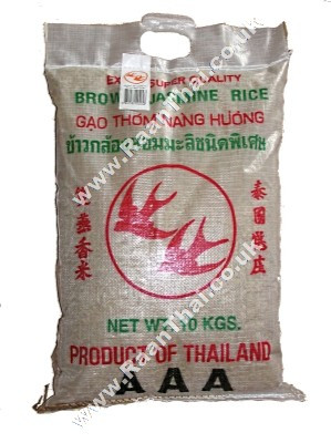 Thai Brown Jasmine Rice 10kg - DOUBLE SWALLOW/ROYAL THAI