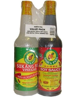 Soy Sauce 750ml + Vinegar 750ml !!!!Value Pack!!!! - MARCA PINA