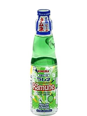 RAMUNE Carbonated Soft Drink - Melon Flavour - KIMURA