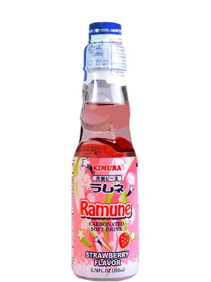 RAMUNE Carbonated Soft Drink - Strawberry Flavour - KIMURA