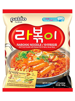 RABOKKI Stir-fried Noodle with Korean Hot & Spicy Soup Base - PALDO