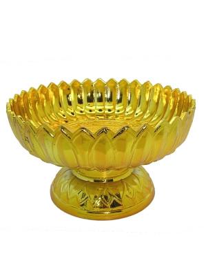 Ceremonial Plastic Bowl (Khantoke) - Gold - 18cm diameter
