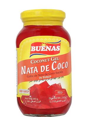Nata De Coco (Coconut Gel in Syrup) - Red - BUENAS