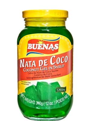 Nata De Coco (Coconut Gel in Syrup) - Green - BUENAS
